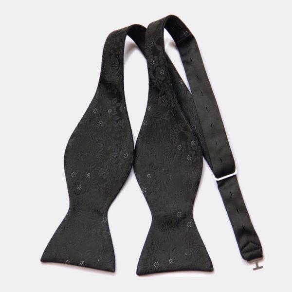 Black Floral Self-Tie Bow Tie from Gentlemansguru.com