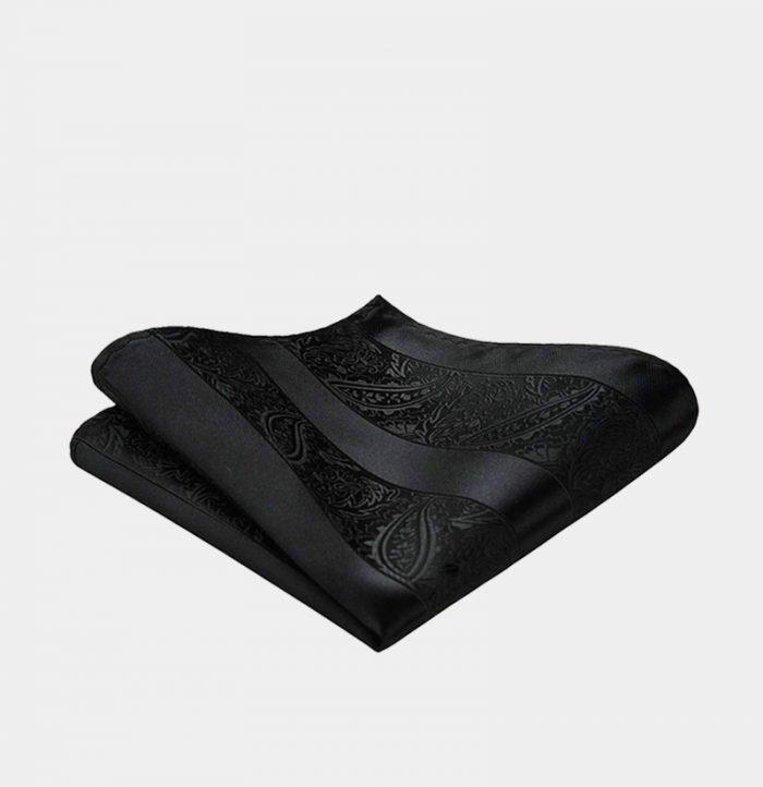 Black Paisley Pocket-Square-Handkerchief from Gentlemansguru.com
