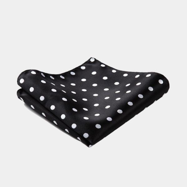 Black Polka Dot Pocket Square-Handkerchief from Gentlemansguru.com