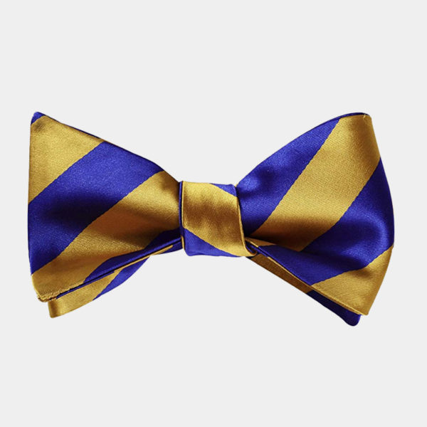 Blue And Gold Striped Bow Tie For Men from Gentlemansguru.com