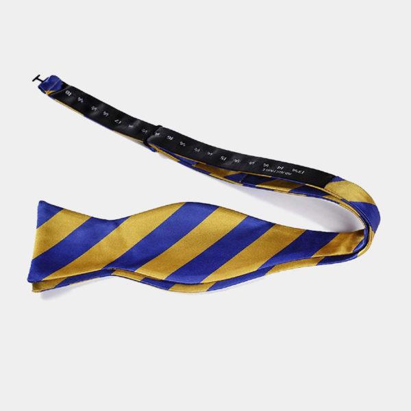 Blue And Gold Striped Self-Tie Bow Tie from Gentlemansguru.com