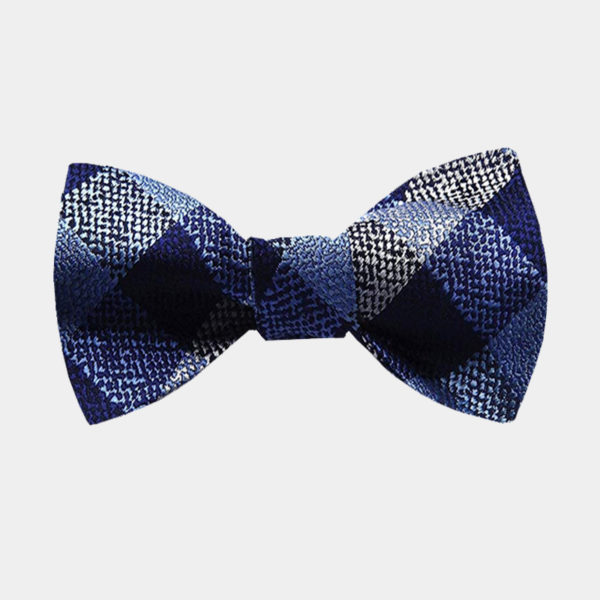 Blue And Gray Plaid Bow Tie For Sale from Gentlemansguru.com