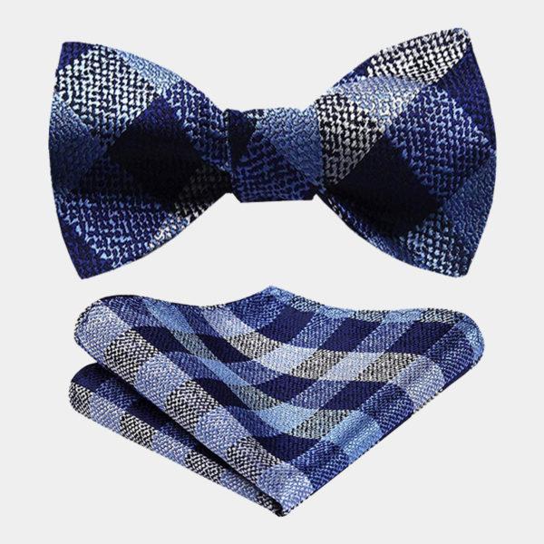 Blue And Gray Plaid Bow Tie Set-from Gentlemansguru.com