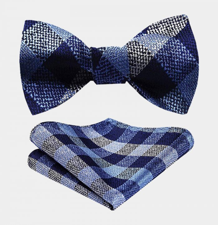 Blue And Gray Plaid Bow Tie Set-from Gentlemansguru.com
