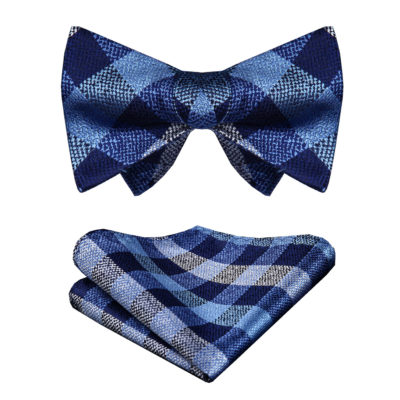 Blue And Gray Plaid Bow Tie Set