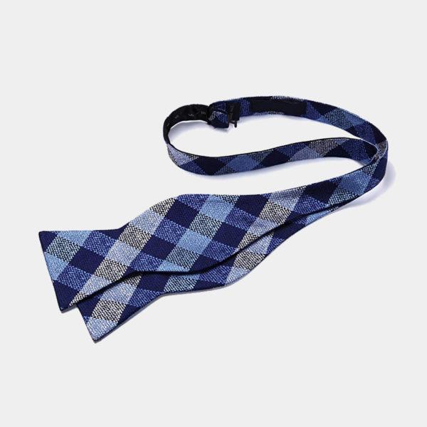Blue And Gray Plaid Self-Tie Bow Tie from Gentlemansguru.com