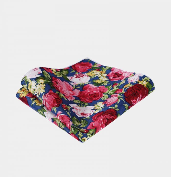 Blue And Pink Floral Pocket-Sque-Handkerchief from Gentlemansguru.com