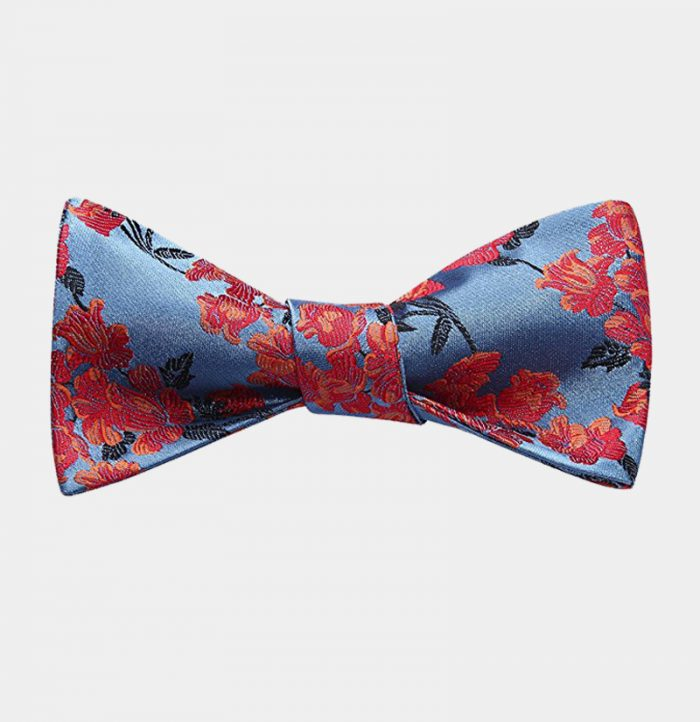Blue And Red Floral Bow Tie Set from Gentlemansguru.com