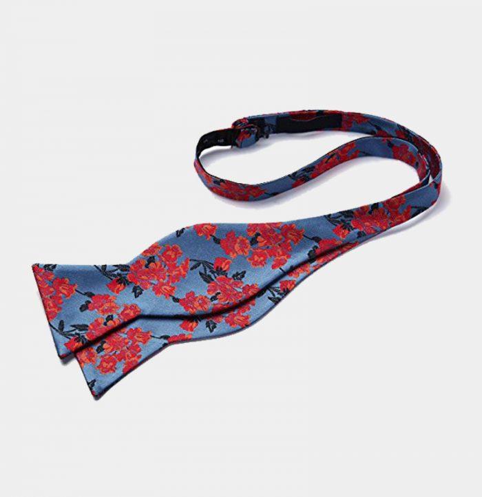 Blue And Red Floral Self-Tie Bow Tie Set from Gentlemansguru.com