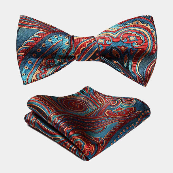 Blue And Red Paisley Bow Tie & Pocket Square from Gentlemansguru.com
