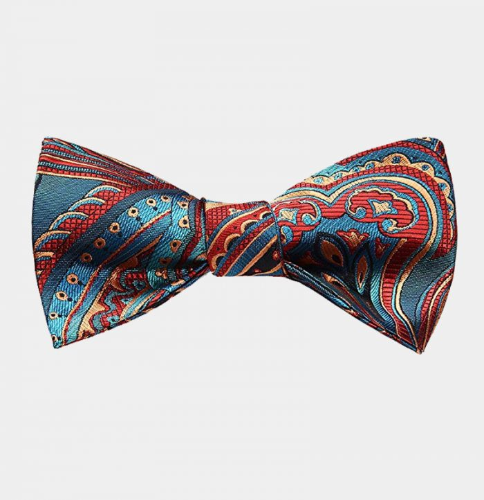 Blue And Red Paisley Bow Tie Set from Gentlemansguru.com