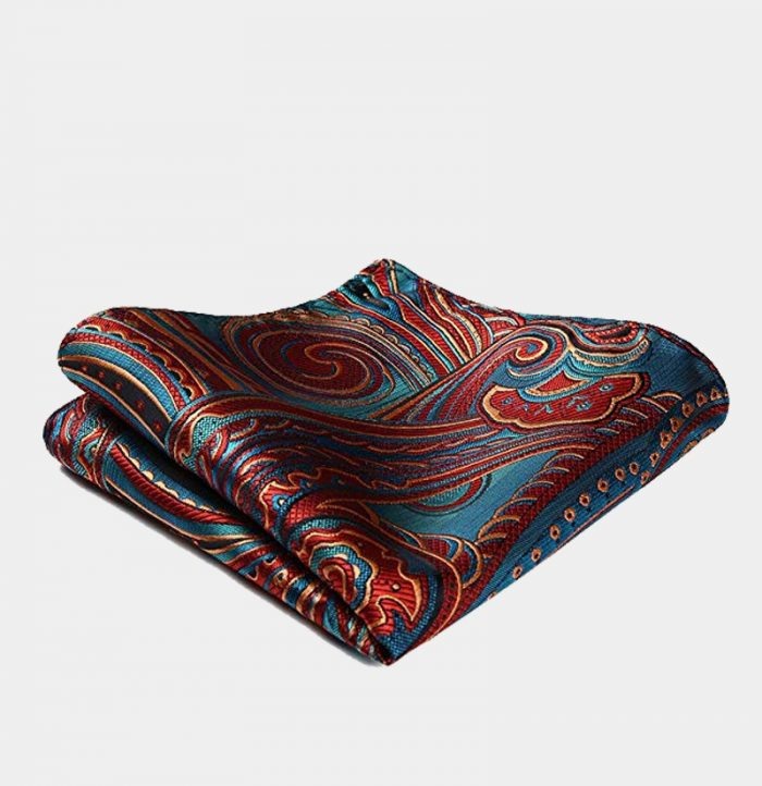 Blue And Red Paisley Pocket Square-Handkerchief from Gentlemansguru.com