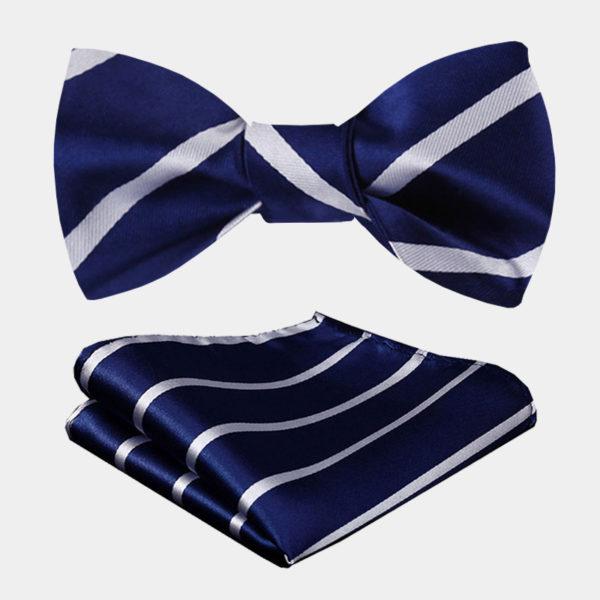 Blue And White Striped Bow Tie from Gentlemansguru.com