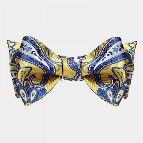Blue And Yellow Paisley Bow Tie For Sale from Gentlemansguru.com