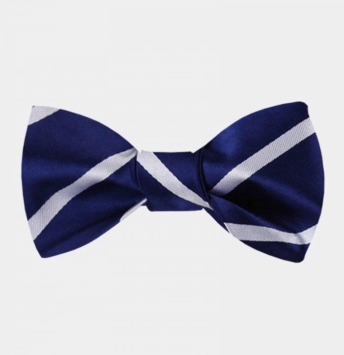 Blue And white Striped Bow Tie For Men from Gentlemansguru.com
