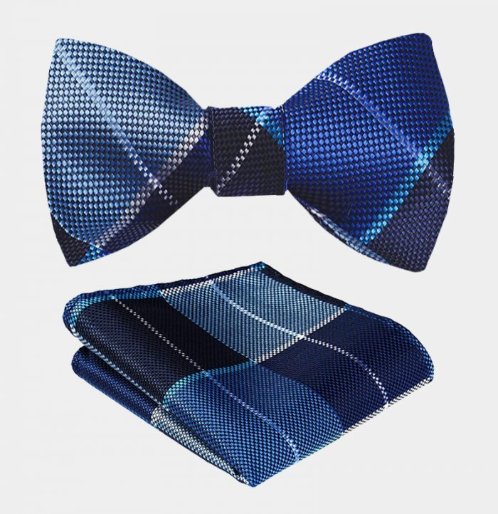 Blue Plaid Bow Tie Set from Gentlemansguru.com
