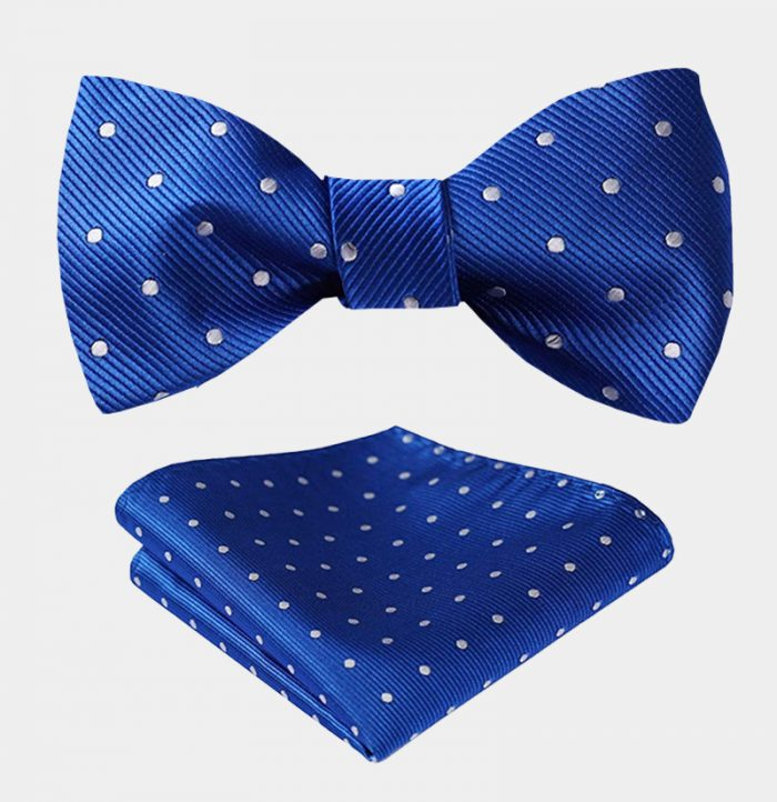 Blue Polka Dot Bow Tie Set from Gentlemansguru.com