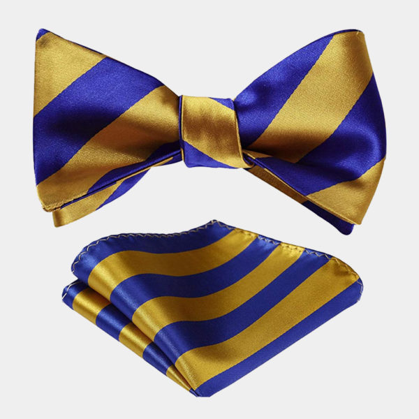 Blue and Gold Striped Bow Tie Set from Gentlemansguru.com