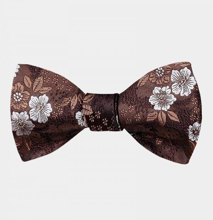 Borwn Floral Bow Tie For Men from Gentlemansguru.com