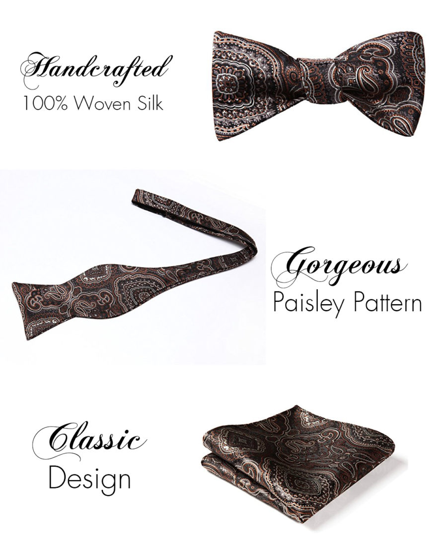 Brown Paisley Bow Tie And Pocket Square Set