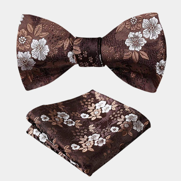 Brown Floral Bow Tie Set from Gentlemansguru.com