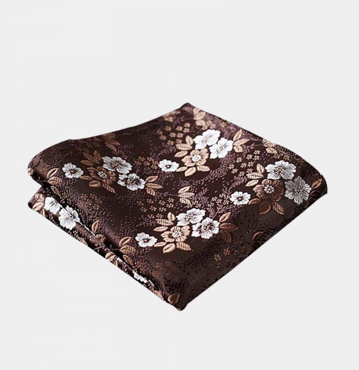Brown Floral Pocket-Square-Handkerchief from Gentlemansguru.com