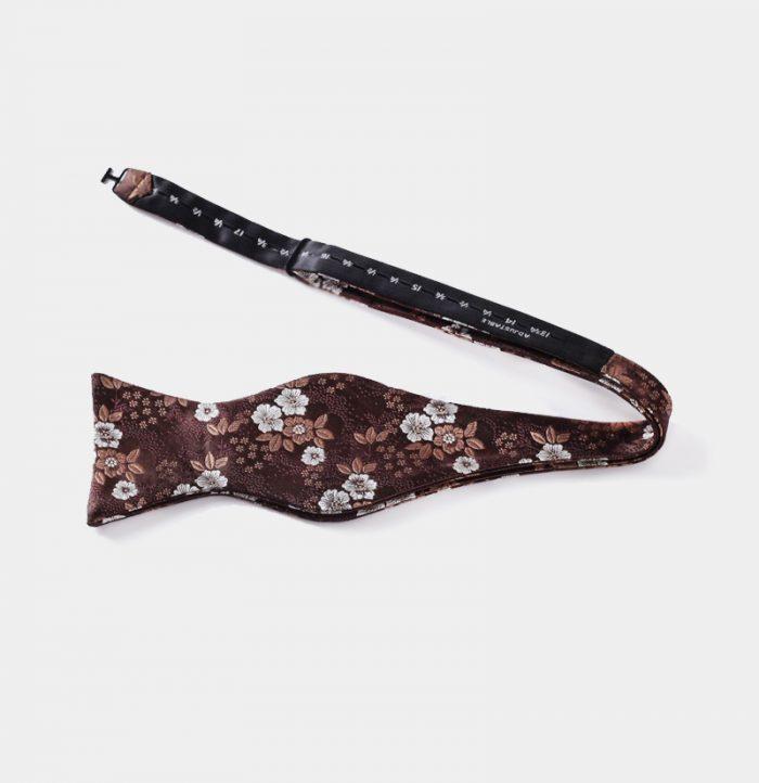 Brown Floral Self-Tie Bow Tie from Gentlemansguru.com