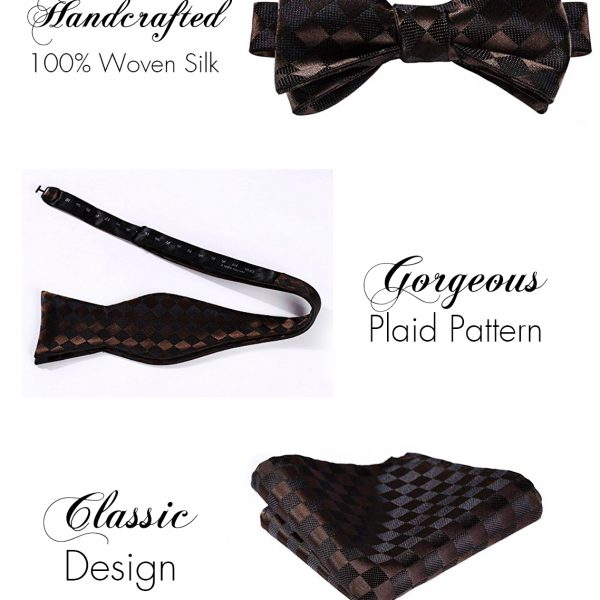 Brown Plaid Bow Tie And Pocket Square Set