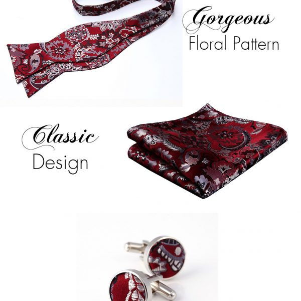 Burgundy Floral Bow Tie And Pocket Square Set