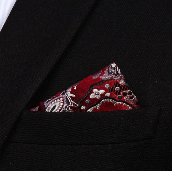 Burgundy Floral Handkerchief