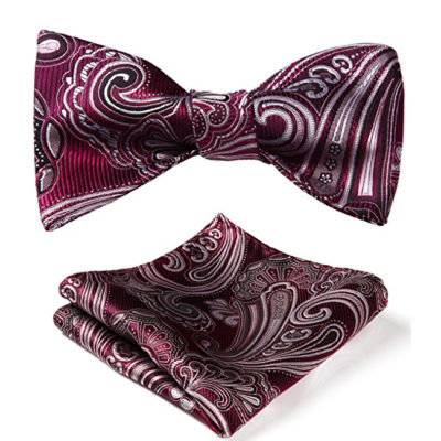 Burgundy Paisley Bow Tie And Pocket Square