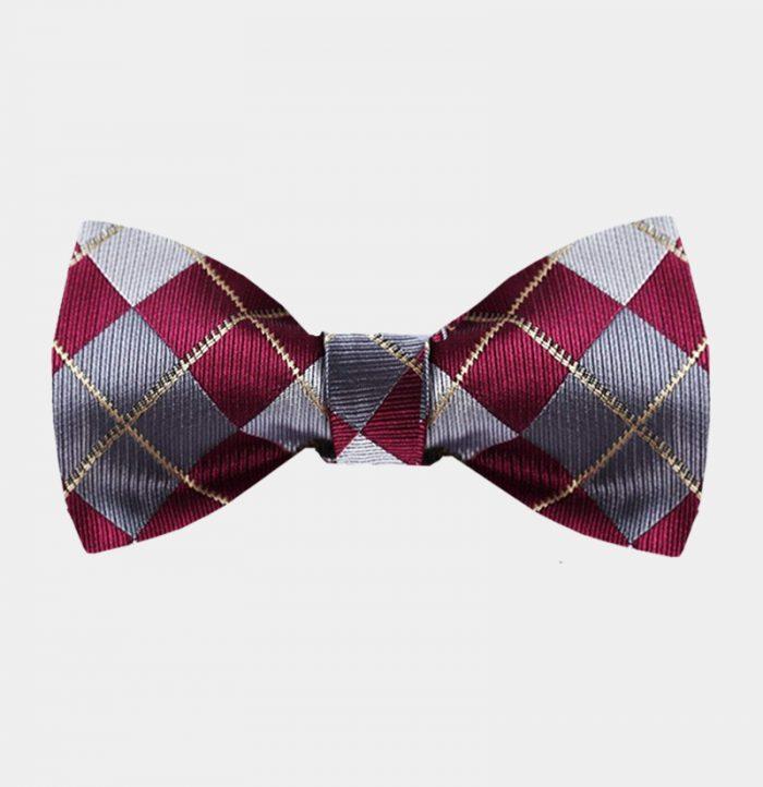 Burgundy Plaid Bow Tie For Sale from Gentlemansguru.com
