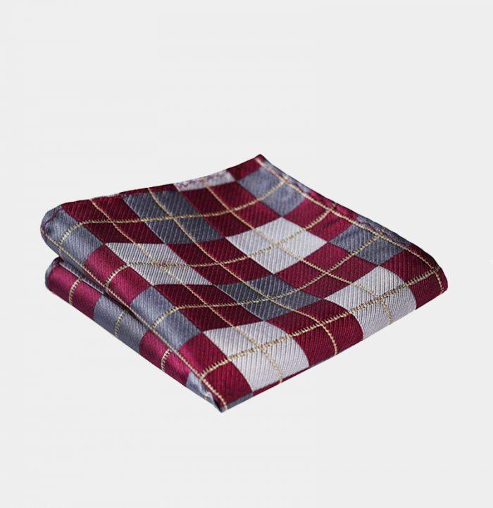 Burgundy Plaid Pocket-Square-Handkerchief from Gentlemansguru.com