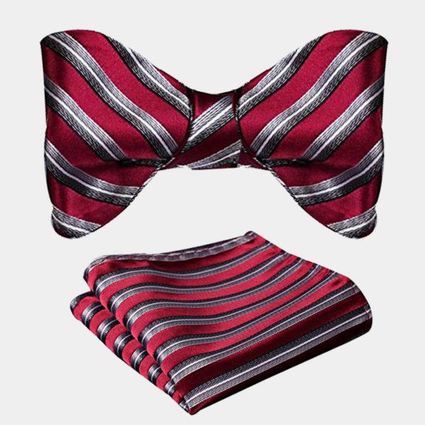 Burgundy Striped Bow Tie Set from Gentlemansguru.com
