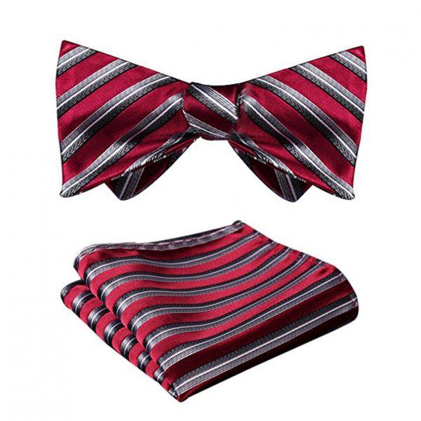 Burgundy Striped Bow Tie Set