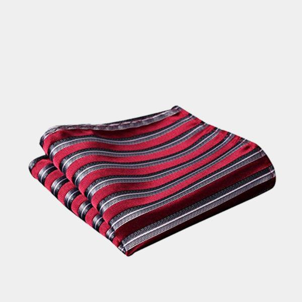 Burgundy Striped Pocket Square-Handkerchief from Gentlemansguru.com