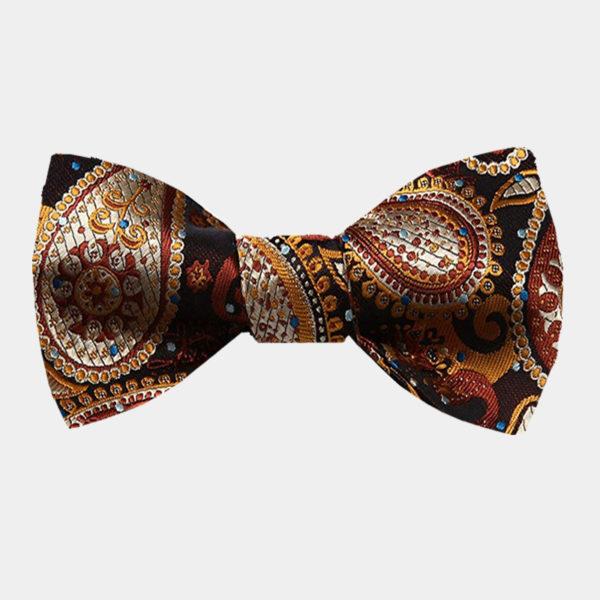 Burnt Orange Paisley Bow Tie For Men from Gentlemansguru.com