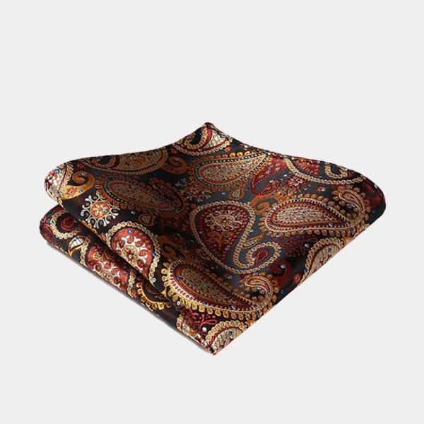 Burnt Orange Paisley Pocket-Square-Handkerchief from Gentlemansguru.com