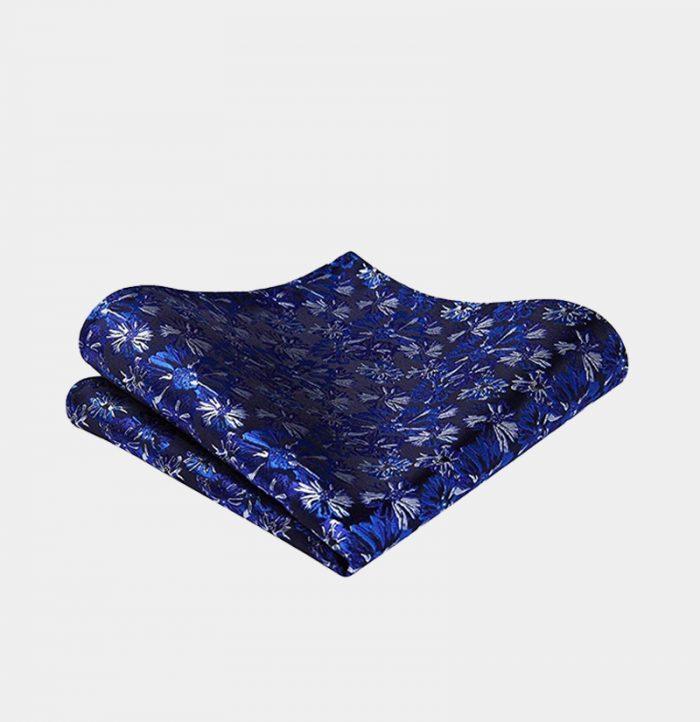 Cobalt Blue Floral Pocket-Square-Handkerchief from Gentlemansguru.com