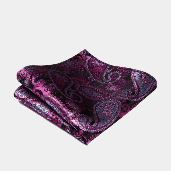 Dark Pink Paisley Pocket-Square-Handkerchief from Gentlemansguru.com