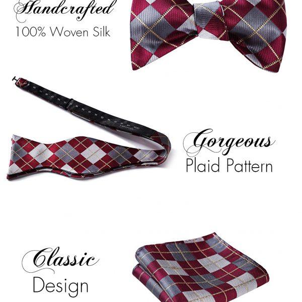 Gentleman's Burgundy Plaid Bow Tie And Pocket Square Set from Gentlemansguru.com