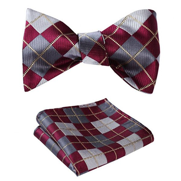 Burgundy Plaid Bow Tie Set