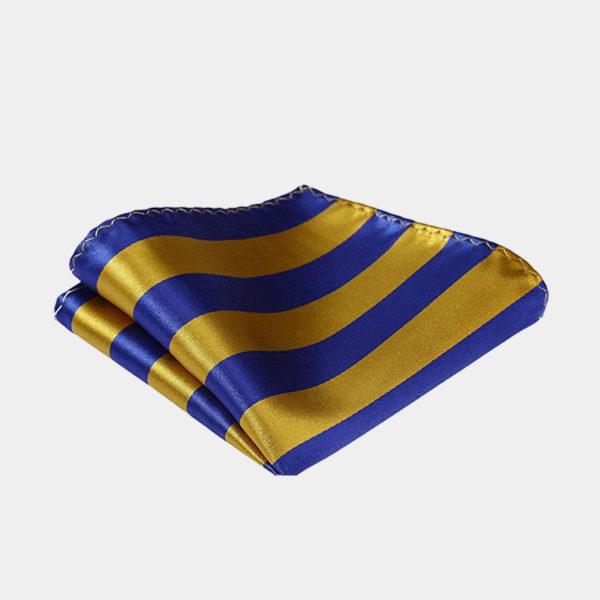 Gold And Blue Striped Pocket Square-Handkerchief from Gentlemansguru.com