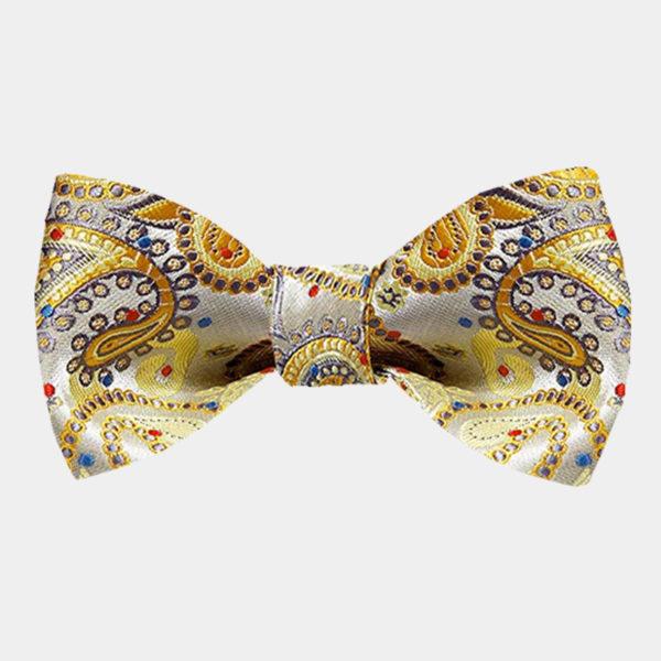Gold Paisley Bow Tie For Men from Gentlemansguru.com