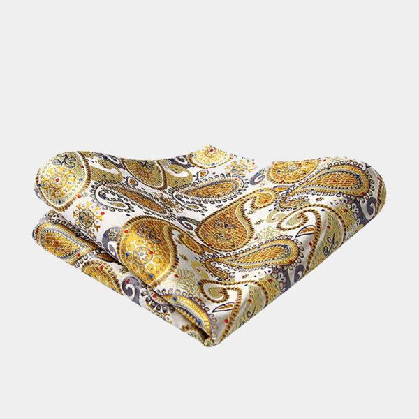 Gold Paisley Pocket-Square-Handkerchief from Gentlemansguru.com