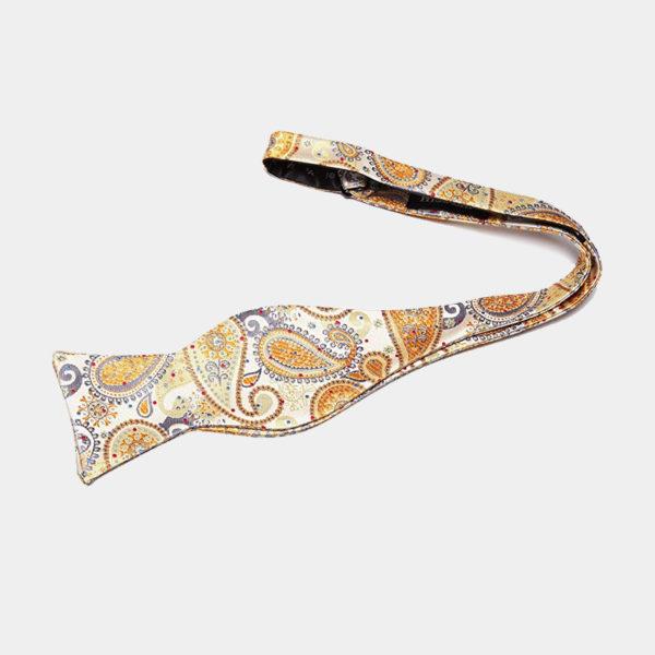 Gold Paisley Self-Tie Bow Tie from Gentlemansguru.com
