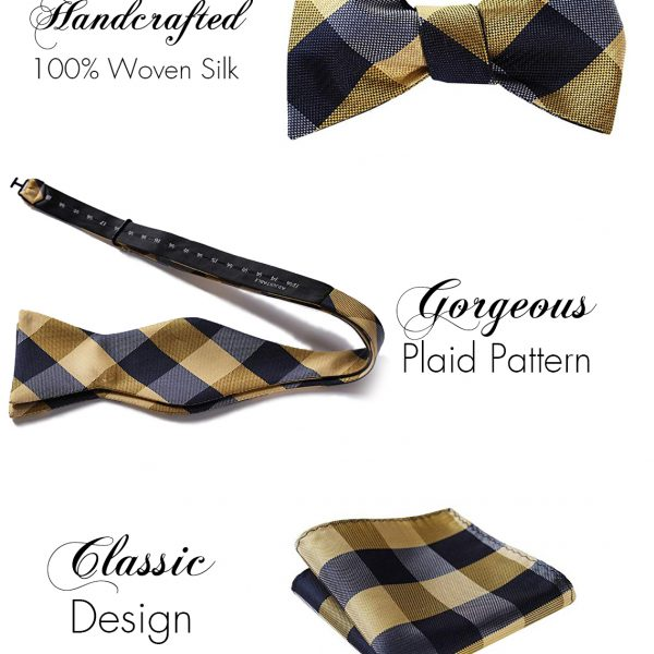Gold Plaid Bow Tie And Pocket Square Set