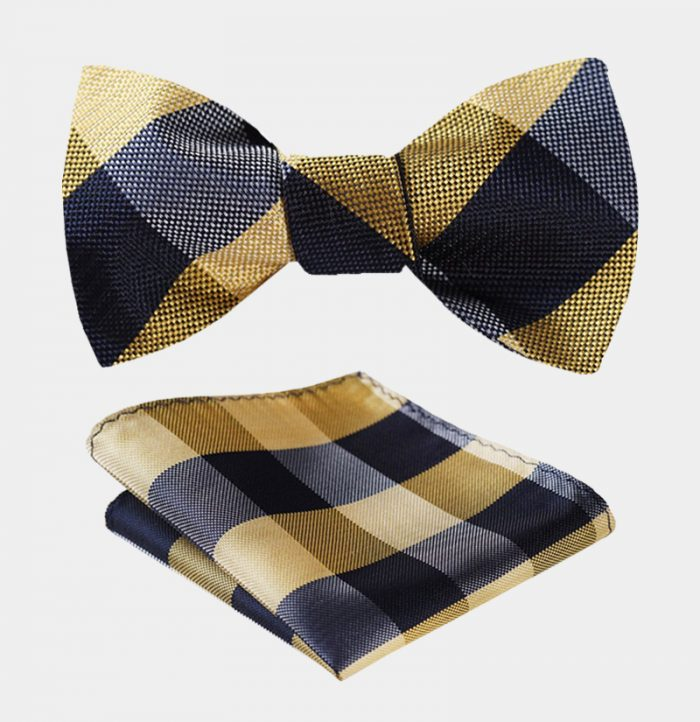 Gold Plaid Bow Tie Set-from Gentlemansguru.com