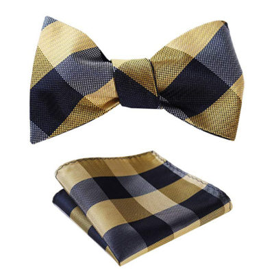 Gold Plaid Bow Tie Set