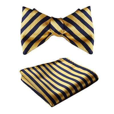 Gold Striped Bow Tie Set